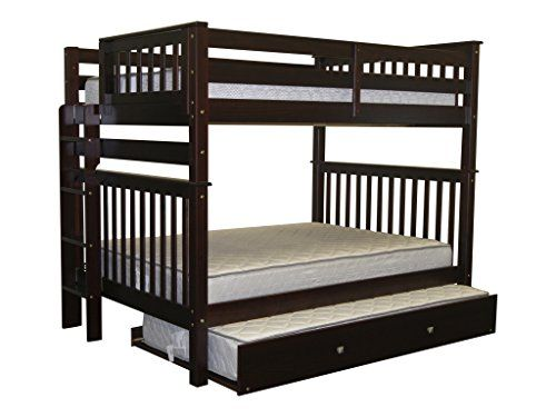 Solid Wood Cappuccino #Finish Full over Full Brazilian Pine Bunk Beds with Full Trundle for added storage or can be separated into two full size beds-Bunk Bed ca...