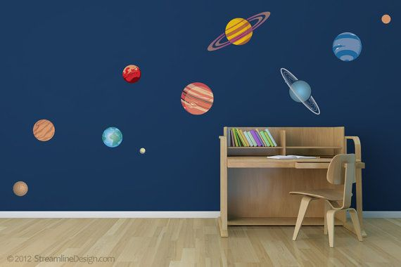 Great wall decoration for a childs room or playroom. We felt Pluto got a bum rap, so its included in this set!  Our planets are digitally printed on high quality removable wall vinyl. Easy to install. Simply peel off the backing paper and smooth onto your wall. If removed carefully
