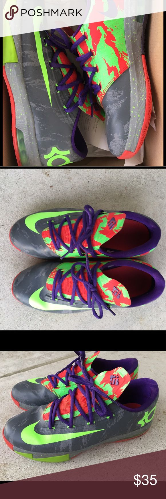 KD VI 6 Energy KD Sneakers with red and bright green colors. It's in very good condition. So rips or tear. These shoes run big. I always wear 8.5 Nike Shoes Athletic Shoes
