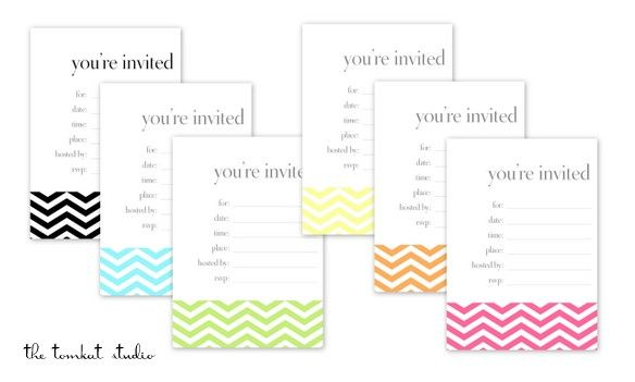 free printable chevron invitations for @HGTV