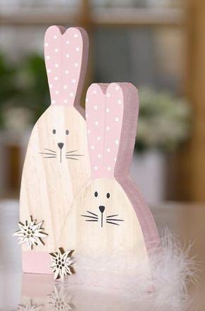 Osterhase aus Holz als Paar zu Ostern oder Frühlingsdeko