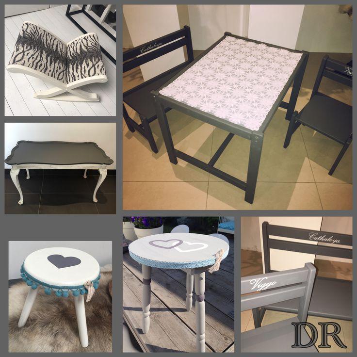 Kleine projectjes die ik restyle. Oude meubeltjes een nieuw leven geven, met een likje verf (Annie Slaon, krijt verf of lack) nieuwe bekleding en of reparaties.