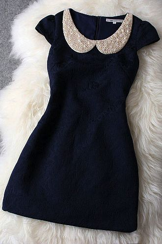 Dark blue dress -- love the Peter Pan collar!