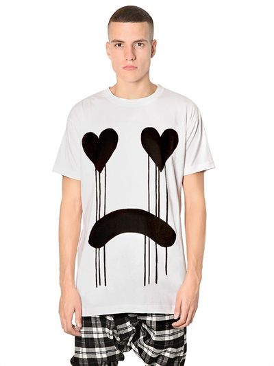 LONG CLOTHING - DRIPPY PRINTED JERSEY OVERSIZED T-SHIRT - LUISAVIAROMA - LUXURY SHOPPING WORLDWIDE SHIPPING - FLORENCE