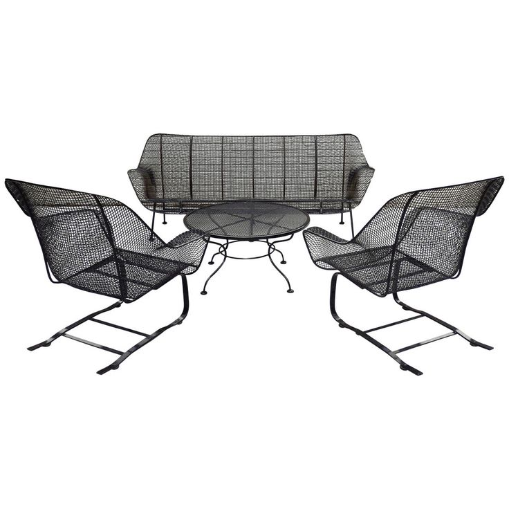 four piece suite of woodard wrought iron outdoor garden furniture from a unique collection black wrought iron outdoor furniture