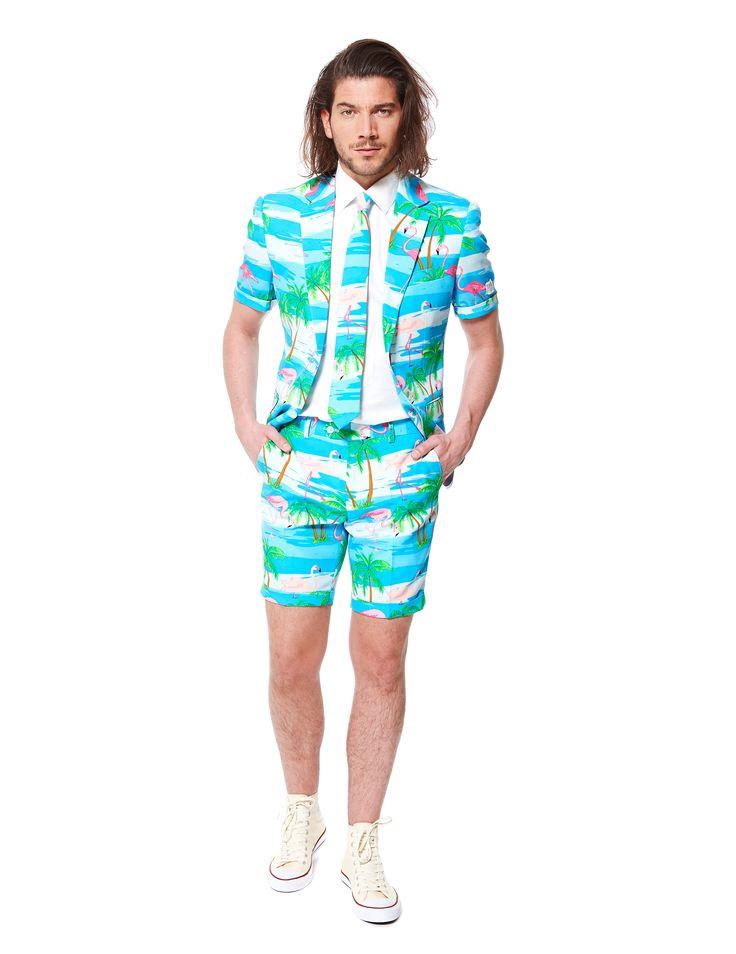 Traje de verano Flamingo hombre Opposuits™: Este traje de verano Flamingo es de la maracaOpposuits™.Incluye chaqueta, corbata y pantalón corto (camisa y zapatos no incluidos).El traje es de buena calidad con estampado azul...