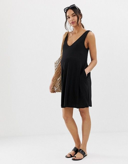 93def54536 DESIGN Maternity ultimate swing dress with concealed pockets