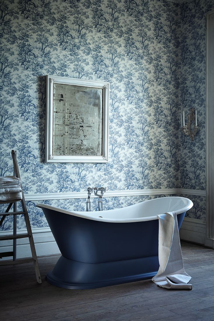 Image Gallery Website Walls Little Greene Stag Toile Juniper Painted bath Little Greene Hicks u Blue Little GreeneToile WallpaperBathroom WallpaperBeautiful