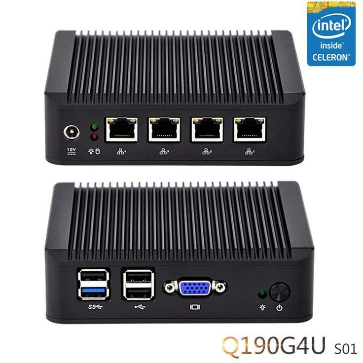 QOTOM Mini PC Q190G4 With 4 LAN Port Pfsense as Router Firewall Quad Core 2 GHz 4G RAM 32G SSD Sale - Banggood.com
