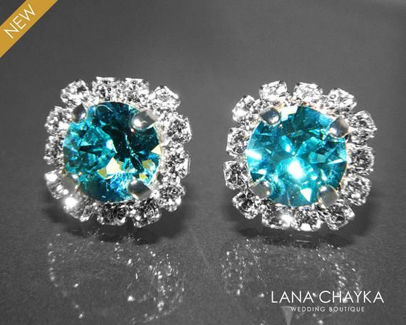 Brincos de halo em cristal turquesa azul claro, brincos hipoalergênicos em strass Swarovski, brincos de prata com cerceta leve, jóias de cerceta azul