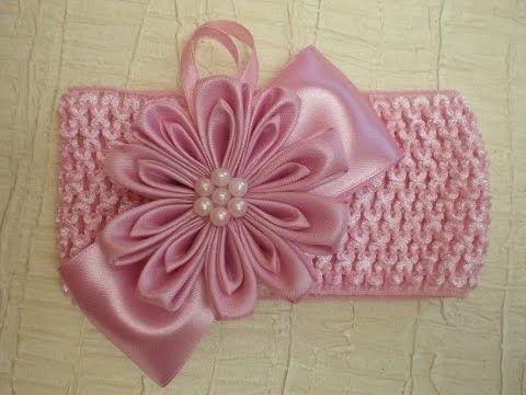 Цветок Канзаши. Повязка-резиночка для девочек.  DIY Kanzashi.  Bow ribbons…