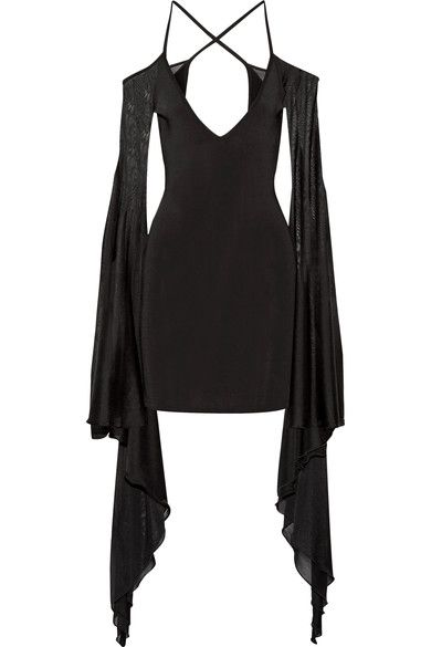 Balmain - Open-back Ruffled Stretch-knit Mini Dress - Black - FR