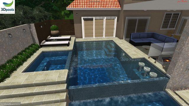 Modern Family Pool With Raised Spa Amp Sun Deck Swim Up Bar