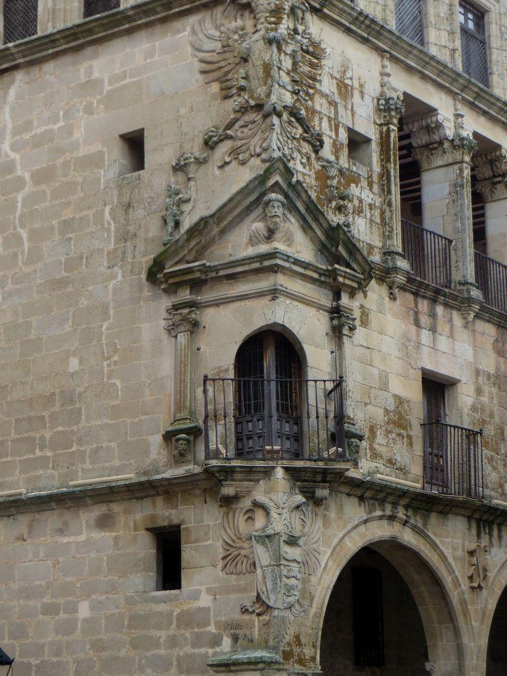 Palacio de los Carvajal Vargas, duques de San Carlos (XVIe), Plaza Mayor, Trujillo, province de Caceres, Estrémadure, Espagne.