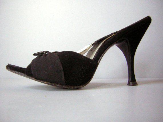 Vintage 50s Springolator High Heels Shoes Bewitching Black ...