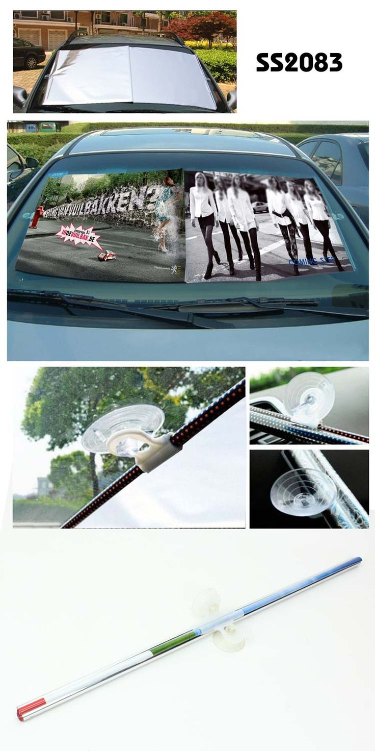 Car Retractable Advertising Visor Curtain  Description:      ---Material: composite heat insulation film and foil ---Unit size : 140CM*55CM ---easy to be carried --- patented product ---Big logo printing area www.ideagroupigm.com