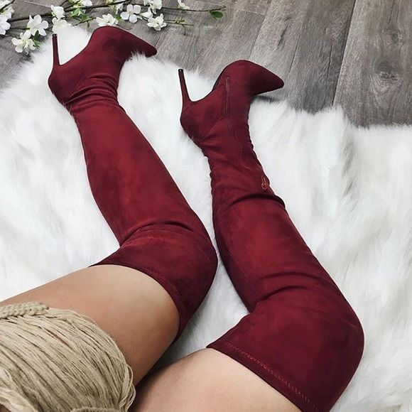 SALE Velvet thigh high boots Wine thigh high velvet heel boots. Only worn once. In great condition. Gold zippers. Fit me a little big but they're true to size Shoes Over the Knee Boots