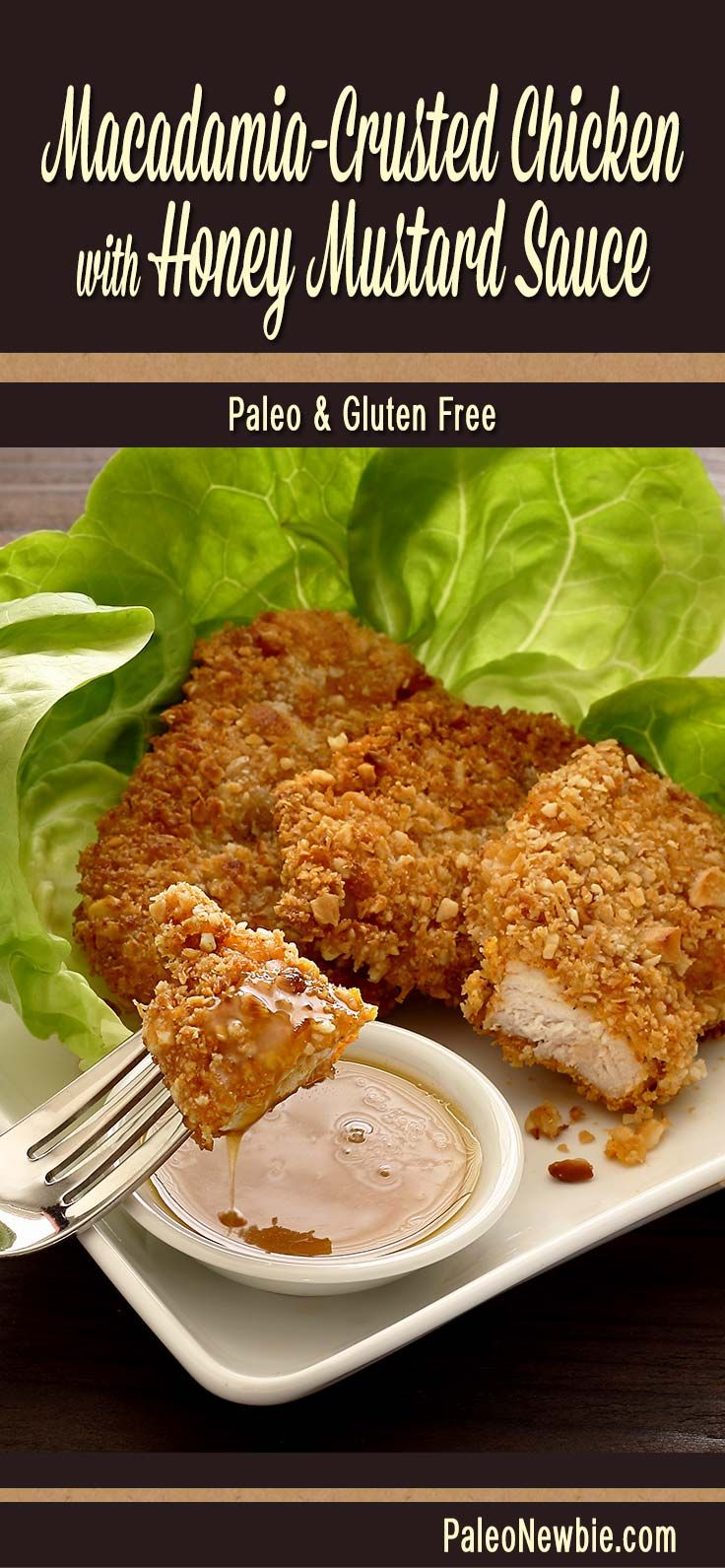 Crunchy fried chicken made healthy with a macadamia nut crust and then shallow-fried in coconut oil. Includes super-easy honey mustard dip recipe. #paleo #glutenfree
