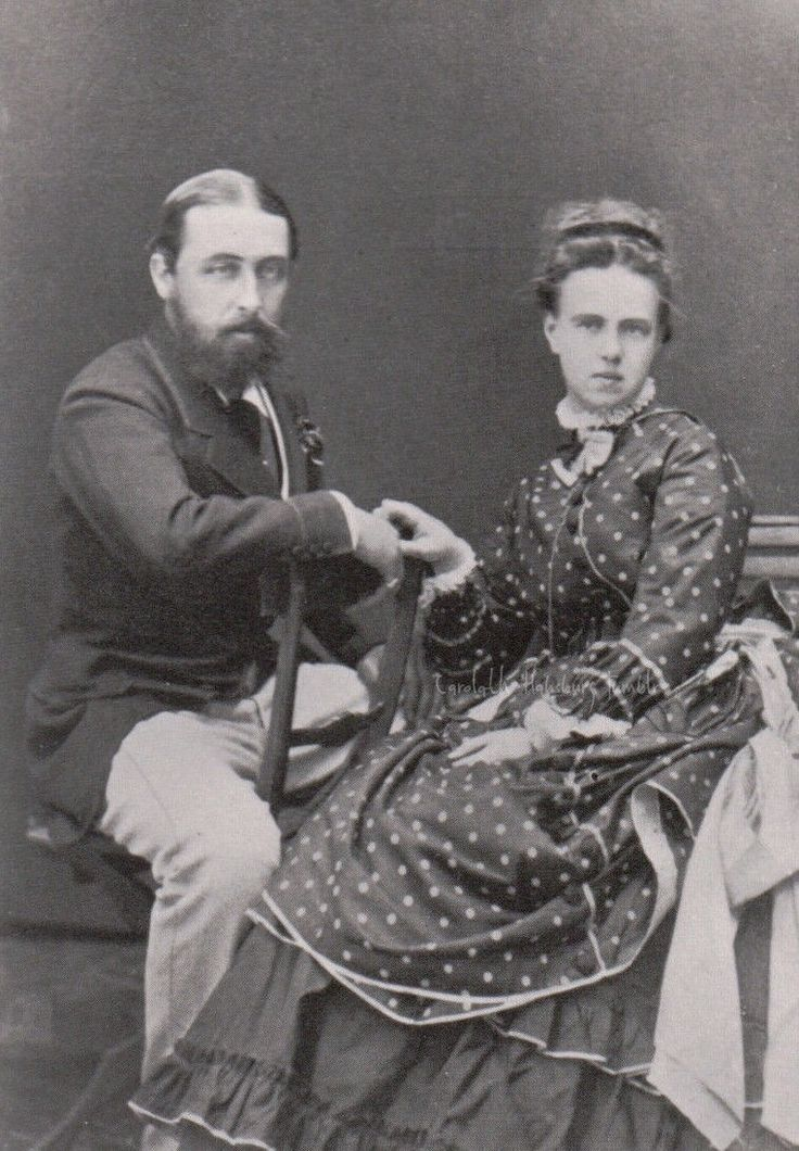 Prince Alfred of Great Britain, Duke of Edinburgh and fianceè, Grand Duchess Maria Alexandrovna of Russia. 1874
