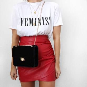 Cool Casual Spring Time Outfit Red Leather Mini Skirt With Black Cross Body Bag And White Slogan FEMINIST T-Shirt