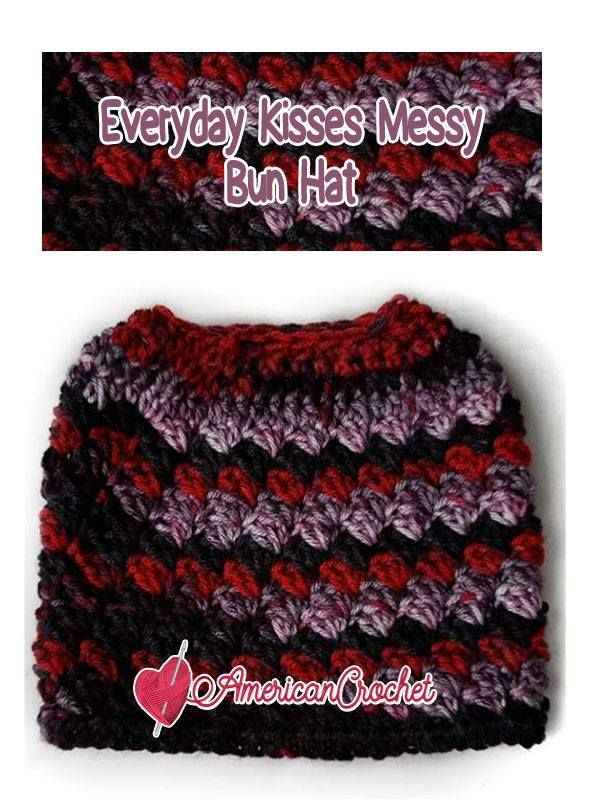 Everyday Kisses Messy Bun Hat | Free Crochet Pattern | American ...