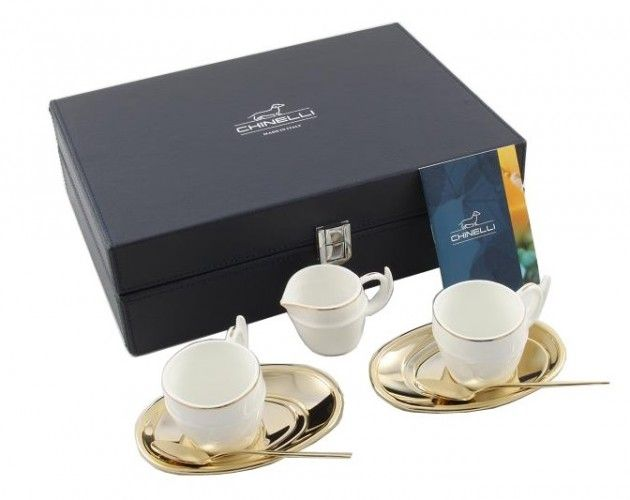 Luxury Gold Coffee Set for 2 by Chinelli http://www.borealy.ro/cadouri-de-lux/set-coffee-chinelli.html