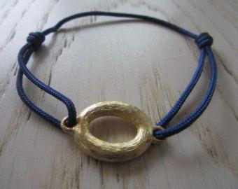 Amicizia auguro impilabile scorrevole Bracciale Bracciale, bracciale teenager, spiaggia unica semplice moderna oro Navy blu