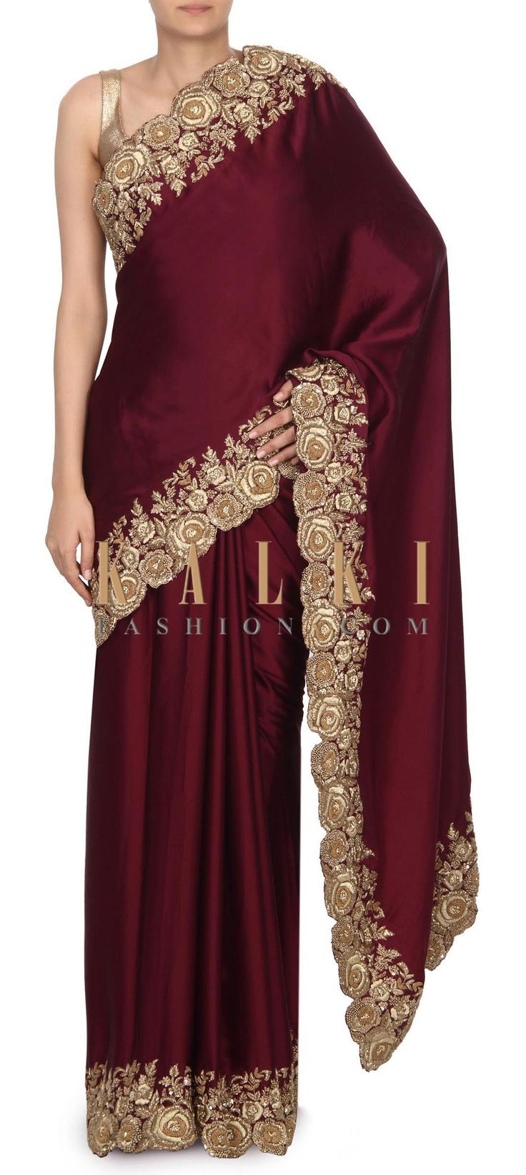 Buy this Purple saree with french knot embroidered border only on Kalki