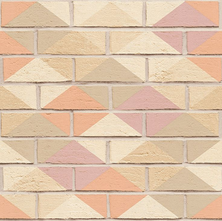 Harlequin Brick Pink, Peach and Taupe wallpaper by Albany