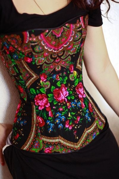 Corset made with Ukrainian babushka fabric..OMG i need to find designer...want want want so badly.. GORGEOUS