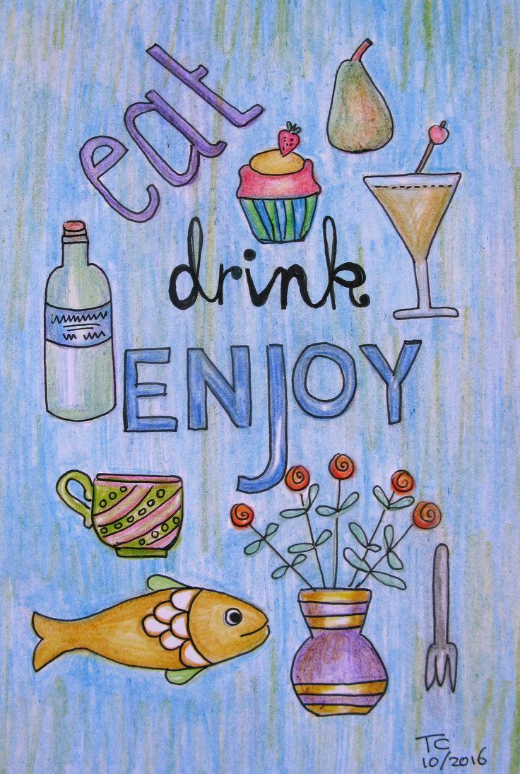 Food tekst illustratie kleurpotlood gemaakt door Tonny Cooyman