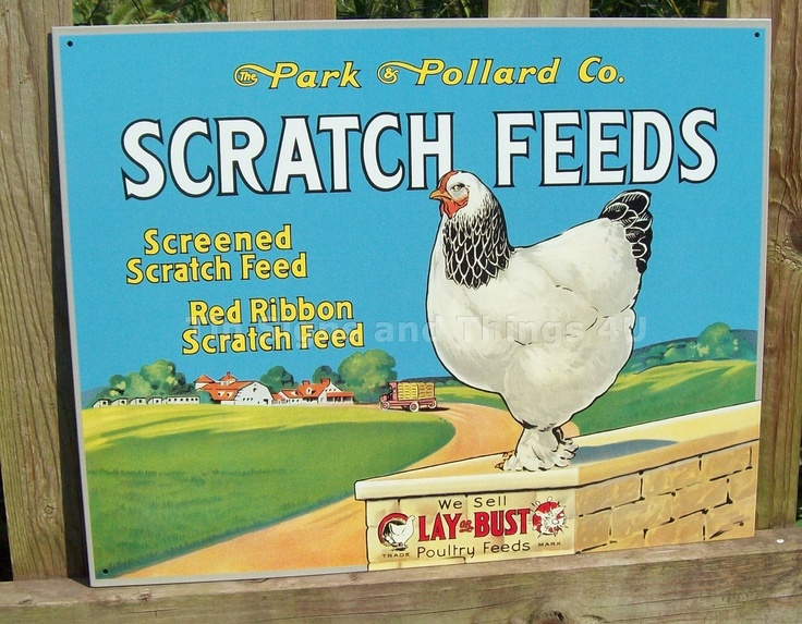 chicken feed: Feeding Stores, Tins Signs, Animal Tins, Chicken Feeding, Eggs Hens, Metals Wall Decor, Feeding Tins, Scratch Feeding, Chicken Eggs