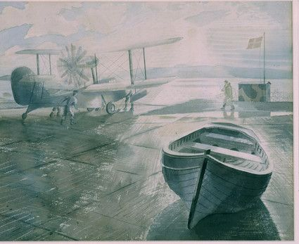 """Walrus and Dinghy"" by Eric Ravilious, 1941 (painted whilst Ravilious was stationed with the Fleet Air Arm in Dundee)"