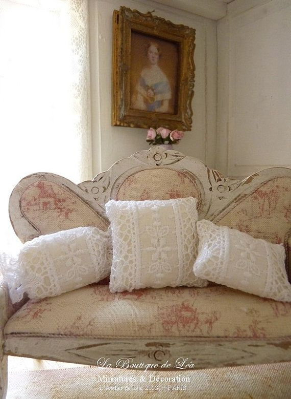Three cushions romantic white  Embroidery and lace by AtelierdeLea, €29.00