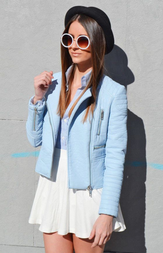 New w Tags Zara Light Blue Faux Leather Jacket XS Sold Out Bloggers Fav | eBay