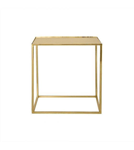 Bloomingville Bijzettafel Cube brass goud metaal 45x45x45cm - wonenmetlef.nl