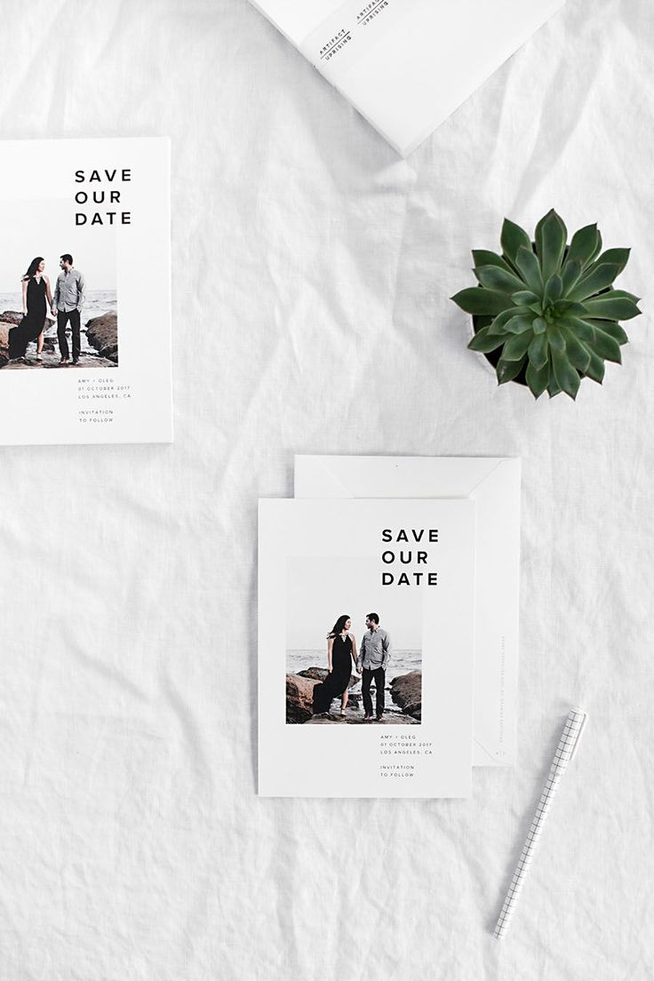 modern save the date wedding photo card