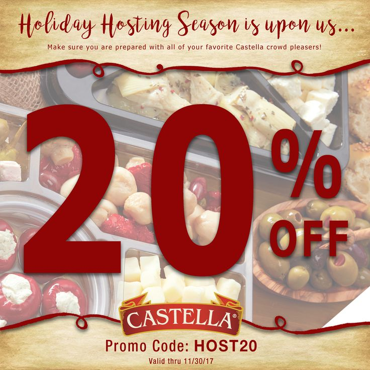 Holiday Hosting Season is upon us... make sure you are prepared with all of your favorite Castella crowd pleasers! Use promo code HOST20 for 20% in the Castella Marketplace