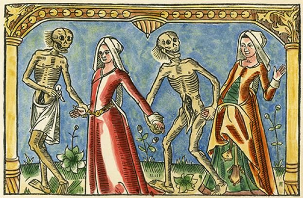 The Dance of Death depicted in a medical image. Learn more at http://simon-rose.com/books/the-heretics-tomb/historical-background/