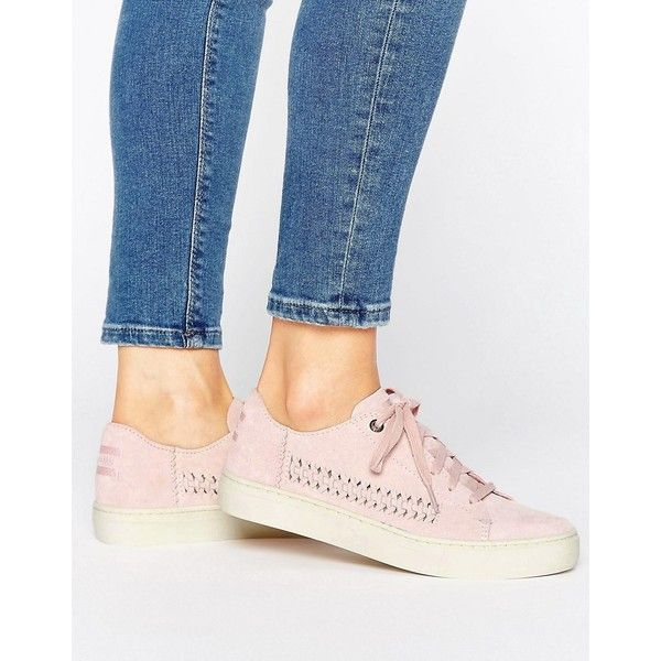 TOMS Lenox Pale Pink Suede Trainers (€45) ❤ liked on Polyvore featuring shoes, sneakers, pink, toms shoes, travel shoes, toms sneakers, pink shoes and suede lace up shoes