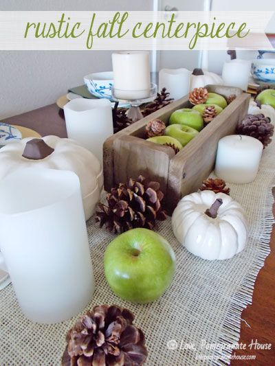 Rustic Fall Centerpiece, love the pops of green from the apples!