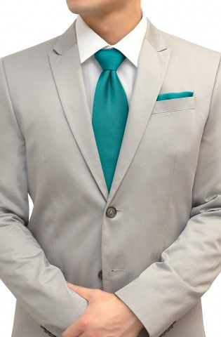Tie and Pocket Square Set Turquoise Teal $38