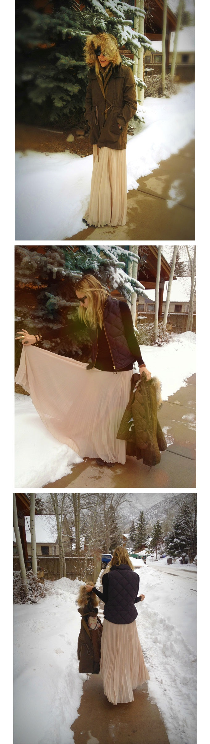 pleated maxi with quilted vest for cold weather chic outfit