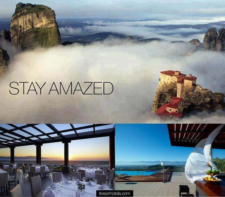 Απολαύστε το ποτό σας ή ένα δείπνο στο Oltre Bar Restaurant του Ananti City Resort με θέα στα μαγευτικά Μετέωρα.
