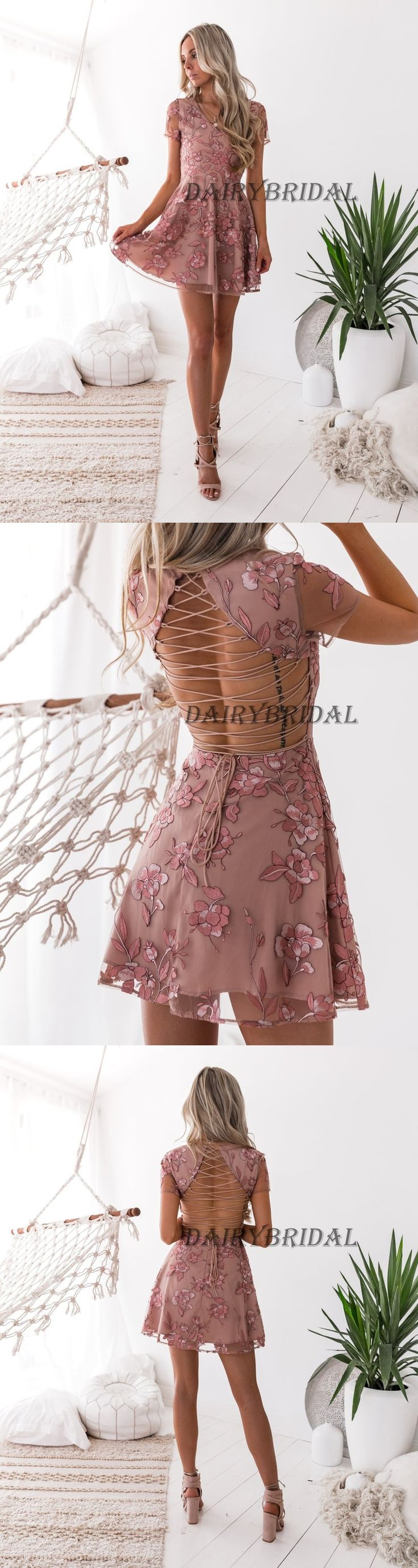 Tulle Homecoming Dress, Applique Homecoming Dress, Cross Back Homecoming Dress, Above-Knee Homecoming Dress, DA976 #dairybridal