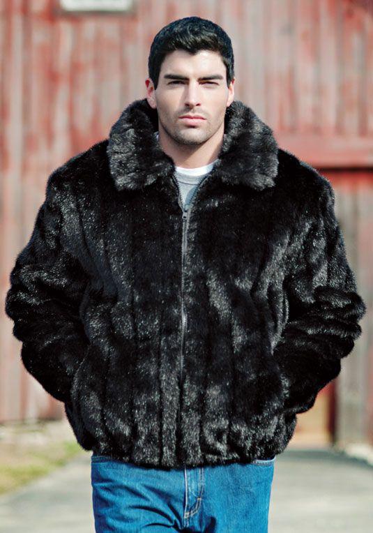Black Mink Faux Fur Men's Bomber Jacket