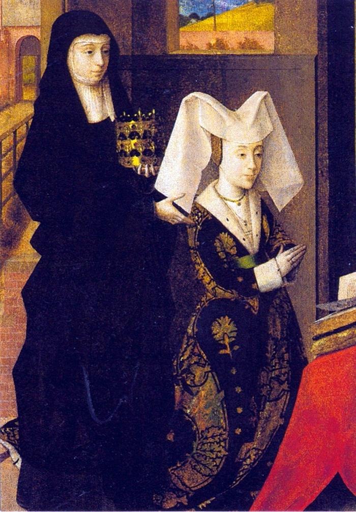 Isabelle de Portugal, duchesse de Bourgogne, présentée par sa patronne Ste Elisabeth de Hongrie, par Petrus Christus