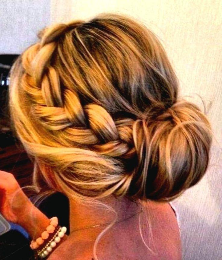 Brautjungfern Frisuren Flechtfrisur hochgesteckte Haare eleganter Look
