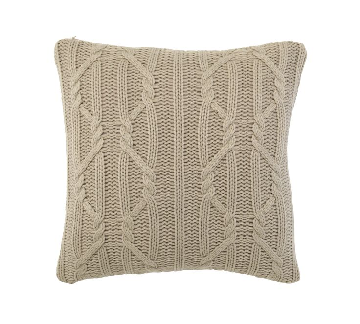 The natural hue of this chunky knit cushion works perfectly with other pared-back accessories for a relaxed and serene look. Priced at £14