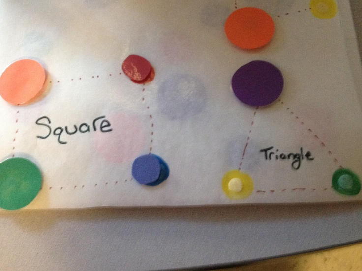 """Another page of the book jena made for our little girl who loves colored circles to enjoy- something academic (tracing shape id etc) but incorperates her fav """"toy"""" (colored circles)"""